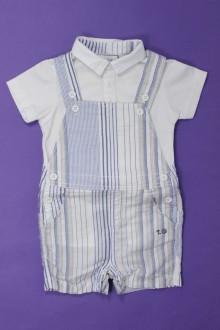 vetement bébé d occasion Ensemble salopette et polo Taille 0 3 mois  Taille 0