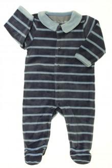 Habits pour bébé occasion Pyjama/Dors-bien rayé en velours Vertbaudet 3 mois Vertbaudet