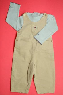 vêtements bébés Ensemble salopette en velours fin et tee-shirt Natalys 12 mois Natalys